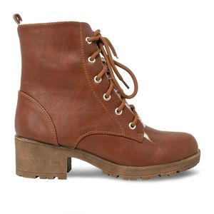 Women's Lace Up Stacked Heel Cognac Combat Boot
